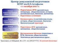 Курсы довузовской подготовки в КГПУ им. В.П. Астафьева