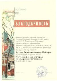 Сертификат музей Мейдус