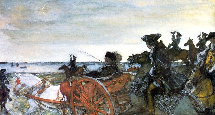 Серов. Екатерина Вторая на соколиной охоте. 1902